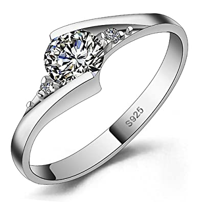 Meyiert 925 Sterling Silver Brilliant Round Cut Zirconia Eternity Promise Engagement Wedding Rings CmnON1