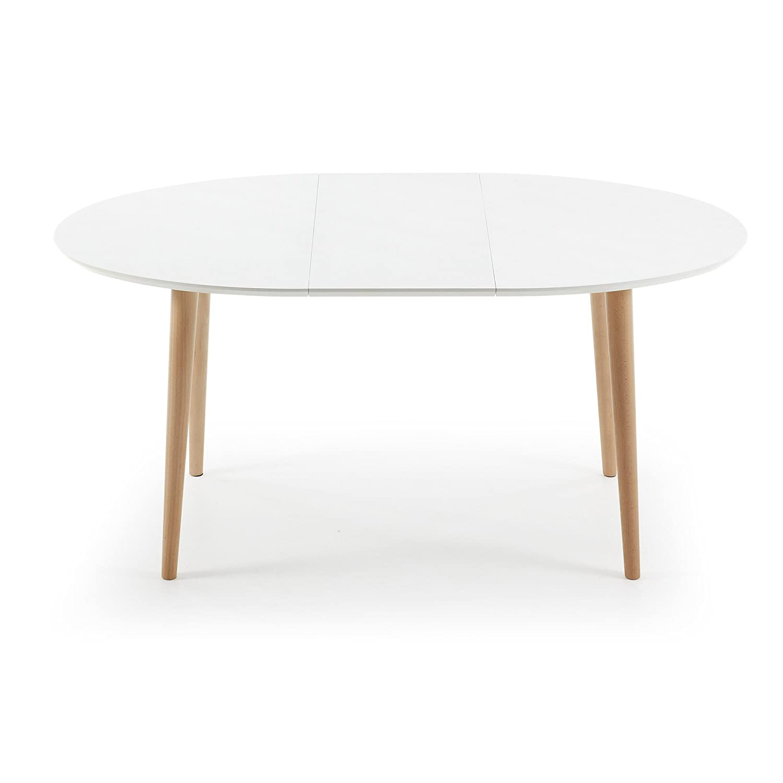 Kavehome Table Oqui extensible ovale 120-200 cm, naturel et blanc ...