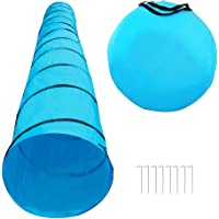 Houseables Dog Tunnel, Agility Equipment, 18 Ft Long, 24″ Open, Polyester, Play Tunnels for Training Small & Medium Dogs, Park Playground Toy, Large Obstacle Course for Pets, with Carrying Case