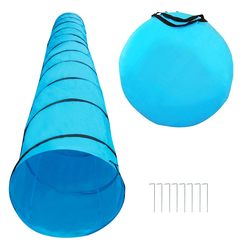 Houseables Dog Tunnel, Agility Equipment, 18 Ft Long, 24'' Open, Polyester, Play Tunnels for Training Small & Medium Dogs, Park Playground Toy, Large Obstacle Course for Pets, with Carrying Case by Houseables