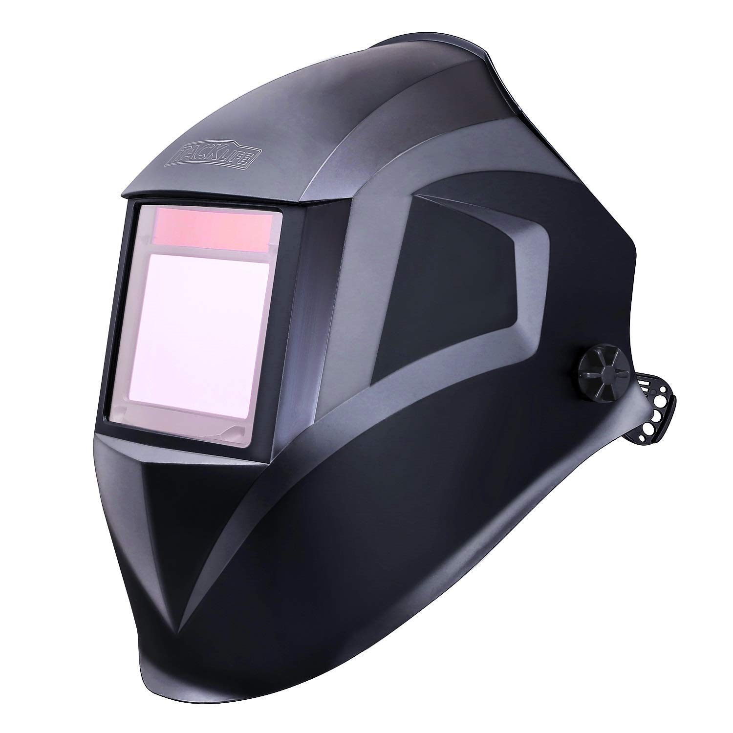 Solar Power Welding Helmet with Larger Viewing Area(3.94''x2.87''),Highest Optical Class (1/1/1/1), Wide Shade Range DIN 3/4-8/9-13, 6Pcs Extra Lenses, Grinding Feature for TIG MIG MMA Plasma - PAH03D