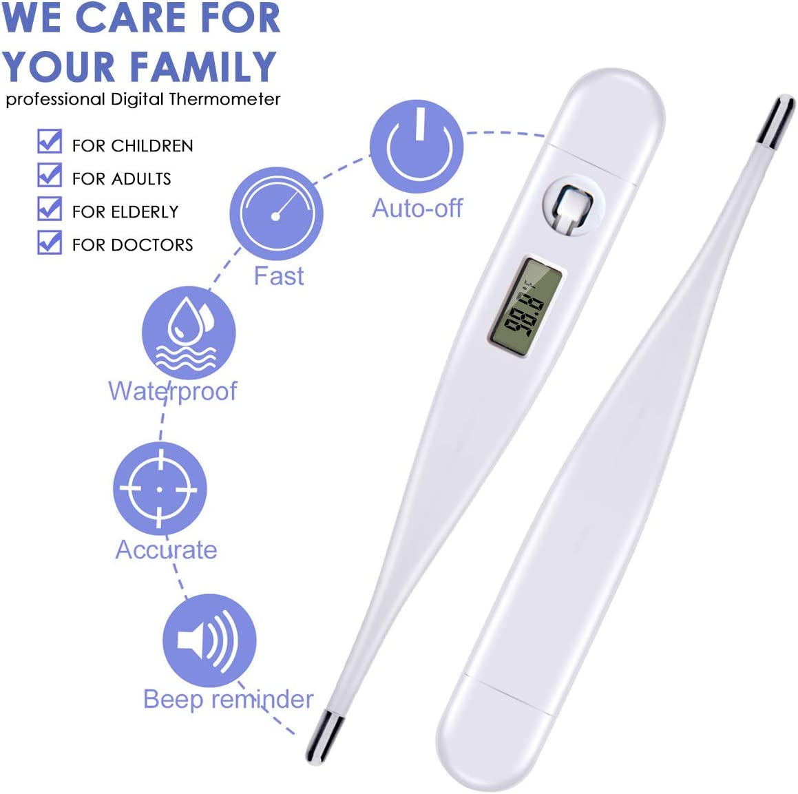 20 Seconds Reading Baby Kids Adult Thermometer Fahrenheit Digital Thermometer LCD Display Rectal Oral Underarm Temperature with Fever Indication