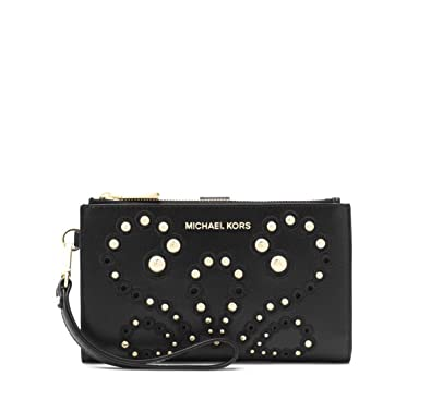 df08fd45810d3e MICHAEL Michael Kors Adele Embellished Leather Smartphone Wallet in Black:  Handbags: Amazon.com