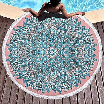 Amazon.com: WLEZY Beach Towel Round Mandala Tapestry Wall ...