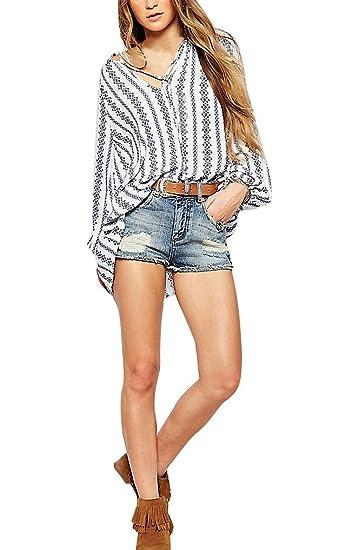 Blusa Mujer Camisa De Manga Larga Elegantes Primavera Camisas Anchos Casuales Tops Shirt Otoño V Cuello