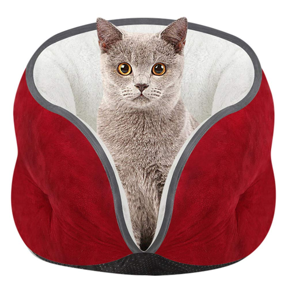 Glumes Cat Bed Pets Bed Puppy Burrow Soft Suede Cat Semi-Enclosed Sleeping Bed for Cat Puppy Rabbit Small Dogs Animals