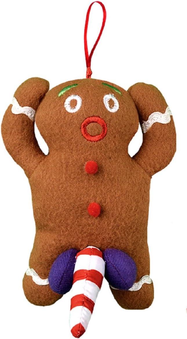 Tekky Naughty Dirty Talking Gingerbread Man Christmas Tree Ornament and Gag Gift, Tan
