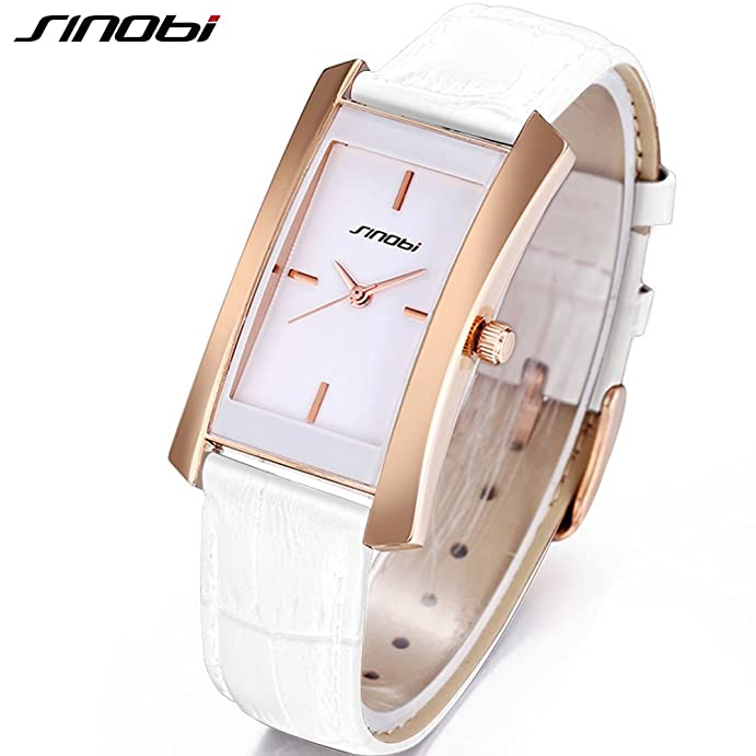 Amazon.com: SINOBI Casual Business Women Leather Watch White, Simple Rectangular Watch Rose Gold reloj de las mujeres: Watches
