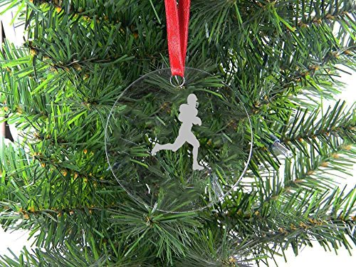 Personalized Custom Football Player Clear Acrylic Hanging Christmas Tree Ornament with Red Ribbon
