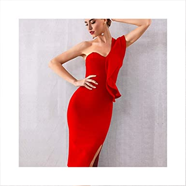 fa10d0faa1779 Evening Party Dresses Sexy One Shoulder Ruffles Bodycon Club Dress ...