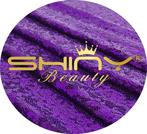 ShinyBeauty Purple Sequin Fabric-By The Yard (12 Feet 4 Yards)