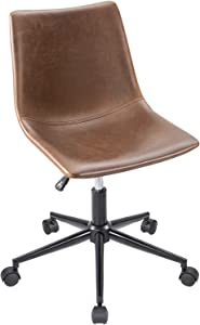 Furmax Mid Back Task Chair Brown Leather  Adjustable Swivel Office Chair Bucket Seat Armless Computer Chair Modern Low Back Desk Conference Chair