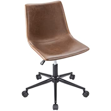 Pleasant Furmax Mid Back Task Chair Brown Leather Adjustable Swivel Office Chair Bucket Seat Armless Computer Chair Modern Low Back Desk Conference Chair Inzonedesignstudio Interior Chair Design Inzonedesignstudiocom