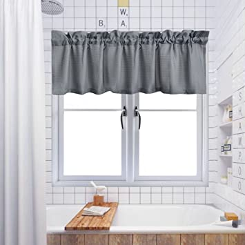 Shower Curtain Valance,Water Repellent Waffle Woven Textured Valance For  Bathroom Short Window Curtain,