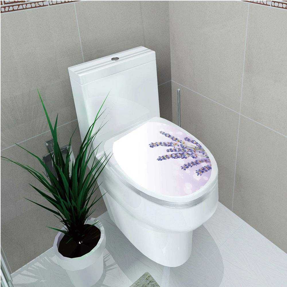 Toilet Sticker,Lavender,Little Posy of Medicinal Herb Fresh Plant of Purple Flower Spa Aromatheraphy Organic,Lavander,Diversified,W12.6''xH15.7''