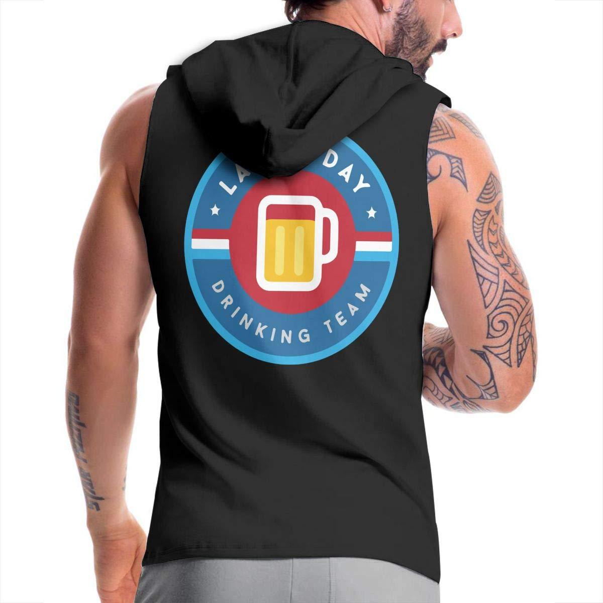 Labor Day Drinking Team Zip Up Vest BMWEITIHBQ Mens Sleeveless Sweatshirt