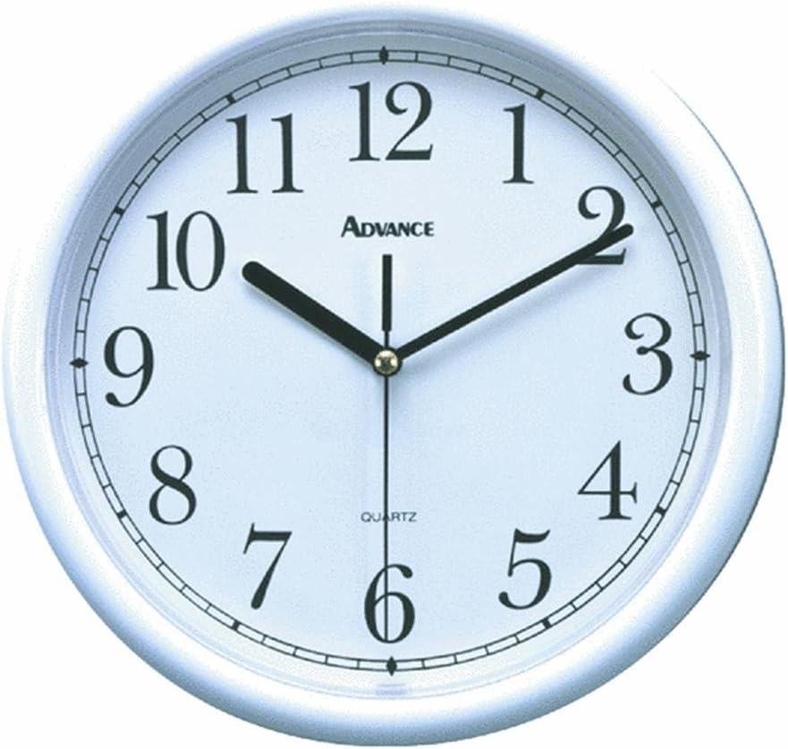 Amazon Com Geneva Advance Clock Co 8101 Tradition 10 White Plastic Wall Clock Round Electric Wall Clock Kitchen Dining