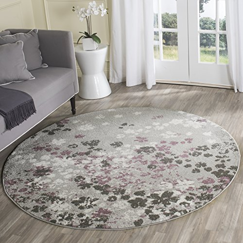 Safavieh Adirondack Collection ADR115M Light Grey and Purple Contemporary Floral Round Area Rug (6' Diameter)