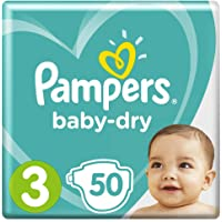 Pampers Baby-Dry Nappies, Size 3 Crawler (6kg-10kg), 50 Nappies, Up to 12 hours of overnight dryness