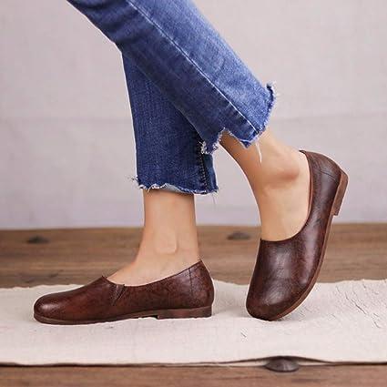 Zapatos De Mujer Suave Cuero Real Plano Suela De Caucho Slip ...