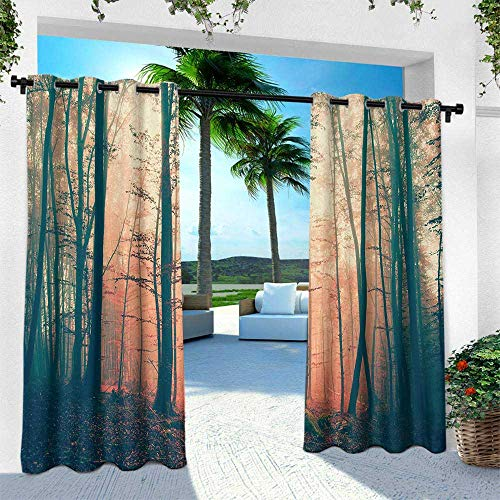 Hengshu Mystic, Outdoor Curtain Waterproof Rustproof Grommet Drape,Light and Vintage Color in Mysterious Autumn Forest Woodland Nature Picture, W108 x L84 Inch, Coral Dark Green ()