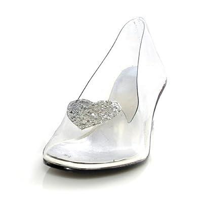 df5b69b05e7 Ellie Shoes 2 quot  Heel Clear with Silver Glitter Heart Slipper Children s.