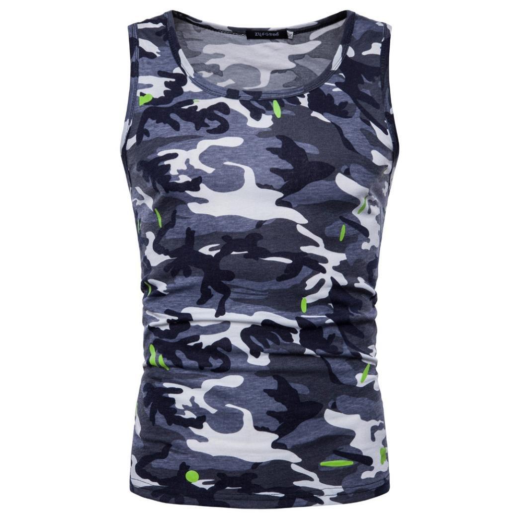 Goodtrade8 Plus Size Men Boy Vest Tank Tops Sleeveless Blouse Sport Summer Casual Tee T-Shirt (M, Gray)