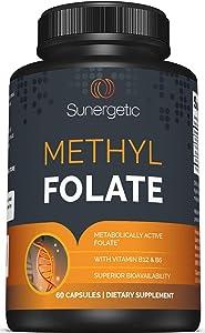 Premium Methyl Folate Supplement – Superior Methyl Folate Capsules with Methylated Vitamin B12 and Vitamin B6 – Metabolically Active Folate as Quatrefolic® - Methyl Folate 400 mcg per capsule – 60 Met