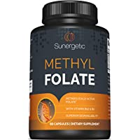 Premium Methyl Folate Supplement – Superior Methyl Folate Capsules with Methylated Vitamin B12 and Vitamin B6 – Metabolically Active Folate as Quatrefolic® - Methyl Folate 400 mcg per capsule – 60 Met