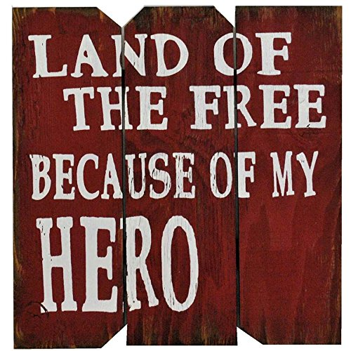 Boulder 16' x 16' Red/White Land of the Free Because of my Hero Wood Sign w/Picture Clip