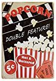 UNiQ Designs POPCORN DOUBLE FEATURE 8 x 12 inch retro vintage wall décor tin sign.