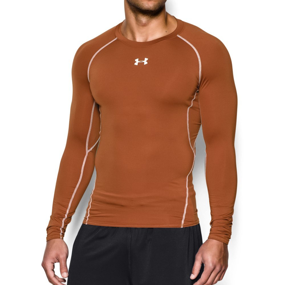 Under Armour Men's HeatGear Long Sleeve Compression Shirt, Texas Orange (875)/White Small