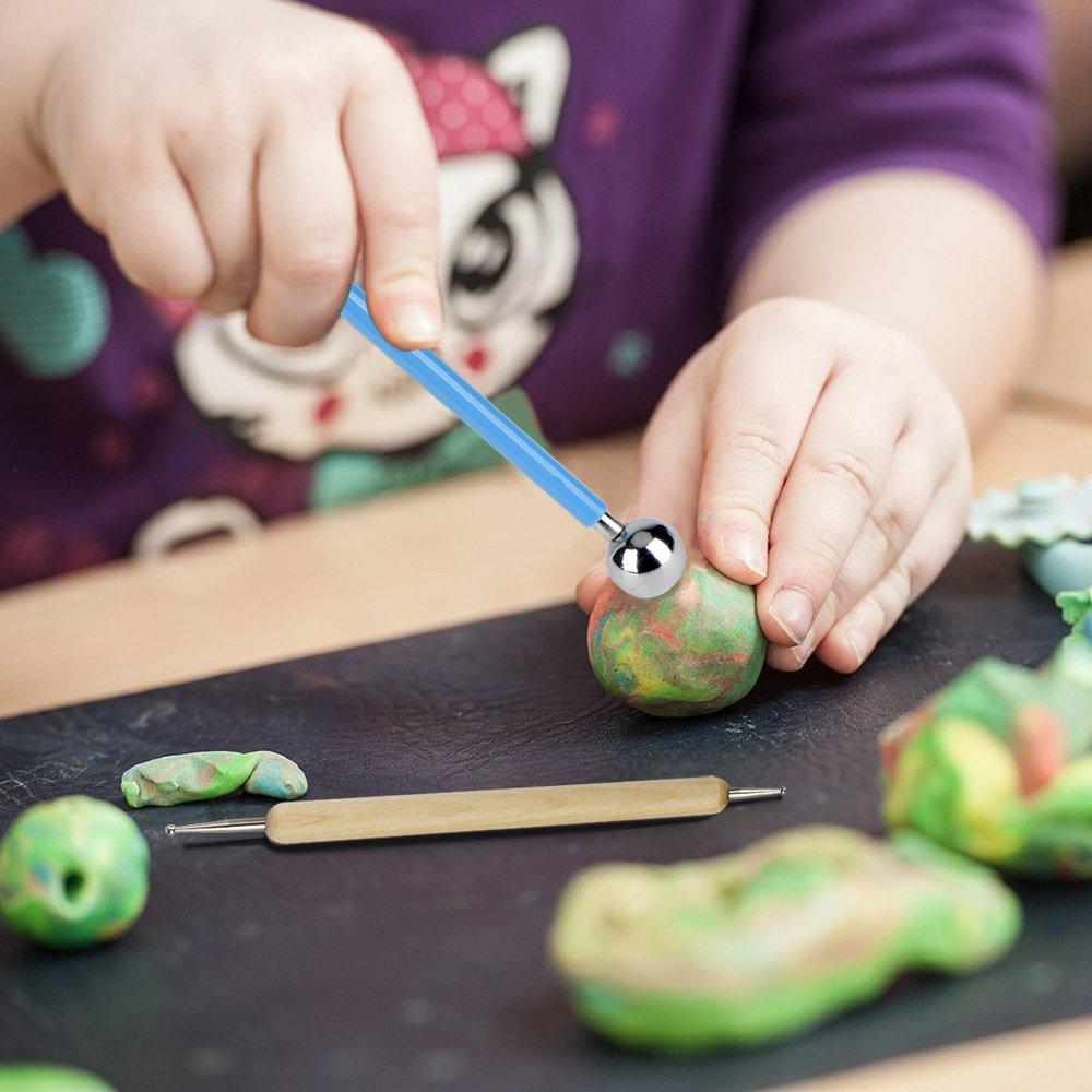 Stylet /à Bille kit en Plastique 24pcs Sculpture Modeling Set Comprennent des Outils de Pointage Polymer Clay Tools des Conseils de Stylo en Caoutchouc des Outils de Bois en C/éramique