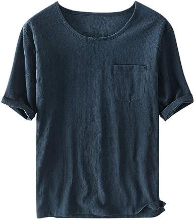 TUDUZ Camisetas Hombre Manga Corta Camisa de Lino en Color Liso con Un Bolsillo o Camiseta de Manga Blanca Ropa con Cuello en Redondo: Amazon.es: Ropa y accesorios