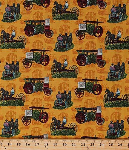 (Cotton Farmall International Harvester Vintage Tractors Fabric Print)
