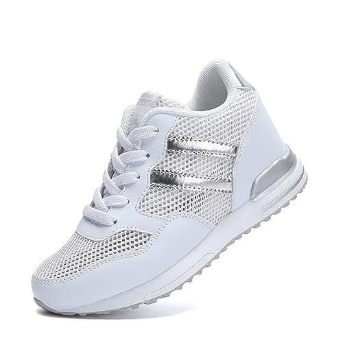 ffd1233fb7a1a2 Femme Chaussure Basket Compensé, Montante à l'intérieur 3.5 CM, Sneakers  Respirant avec