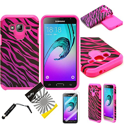 For Samsung Galaxy J3 / Samsung Galaxy Amp Prime /AT&T GoPhone Samsung Galaxy Express Prime /ITUFFY 3items: Screen Film+Stylus Pen+Dual Layer Shockproof Slim Hybrid Armor Case (Pink Purple Zebra)