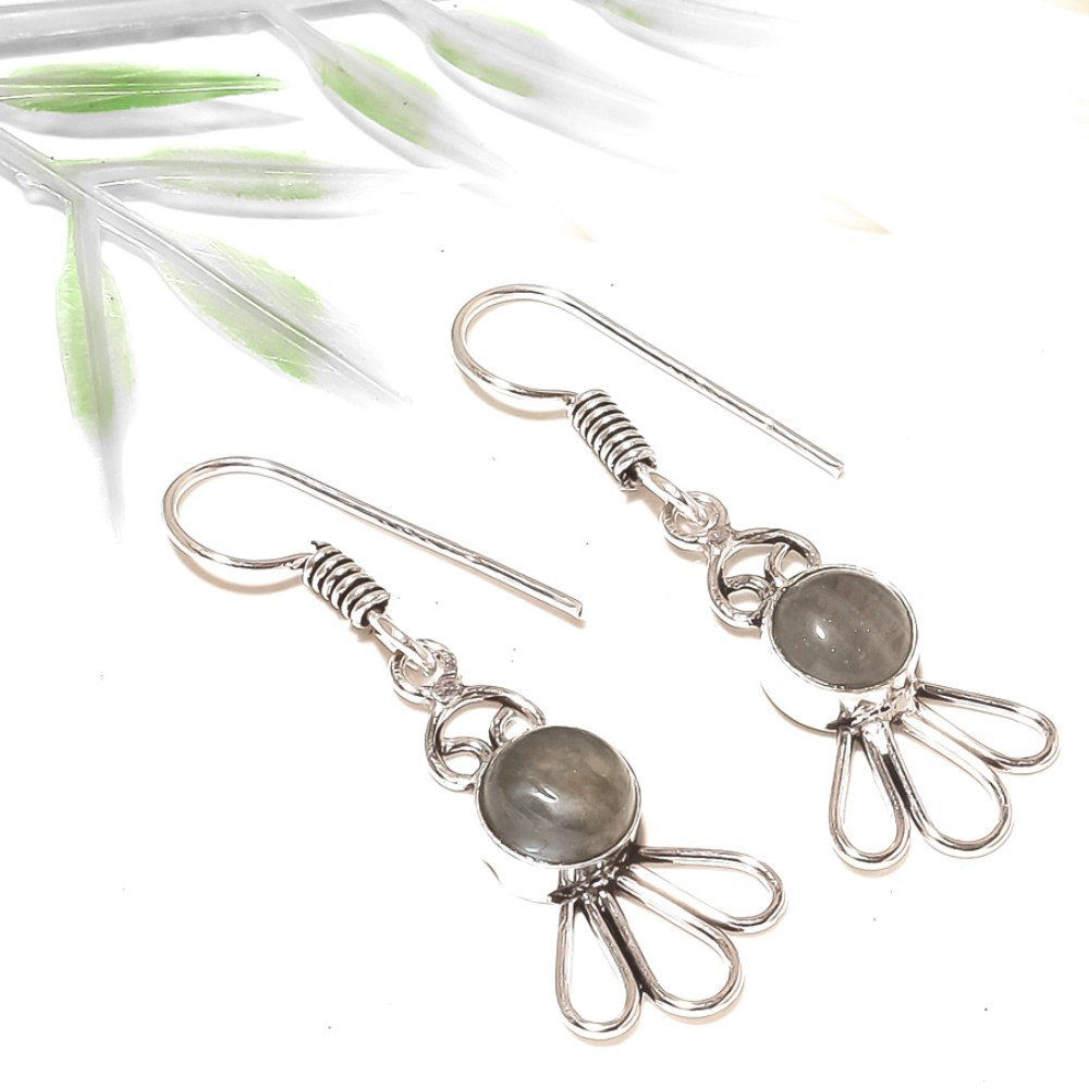 Top Search Jewelry Black Labradorite Silver Overlay 5 Gram Earring 1.75