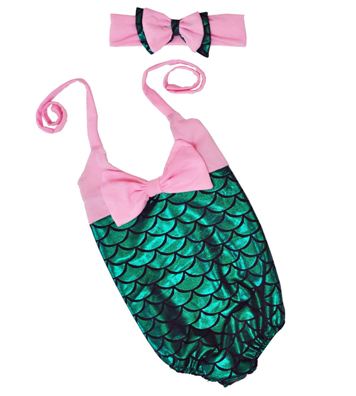 Little Girls 2pcs Swimmable Mermaid Princess Bikini Swim Bathing Suit+headband F176