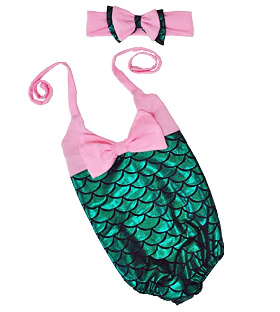 3f37f76ee1450 Amazon.com: Little Girls 2pcs Swimmable Mermaid Princess Bikini Swim  Bathing Suit+headband: Clothing