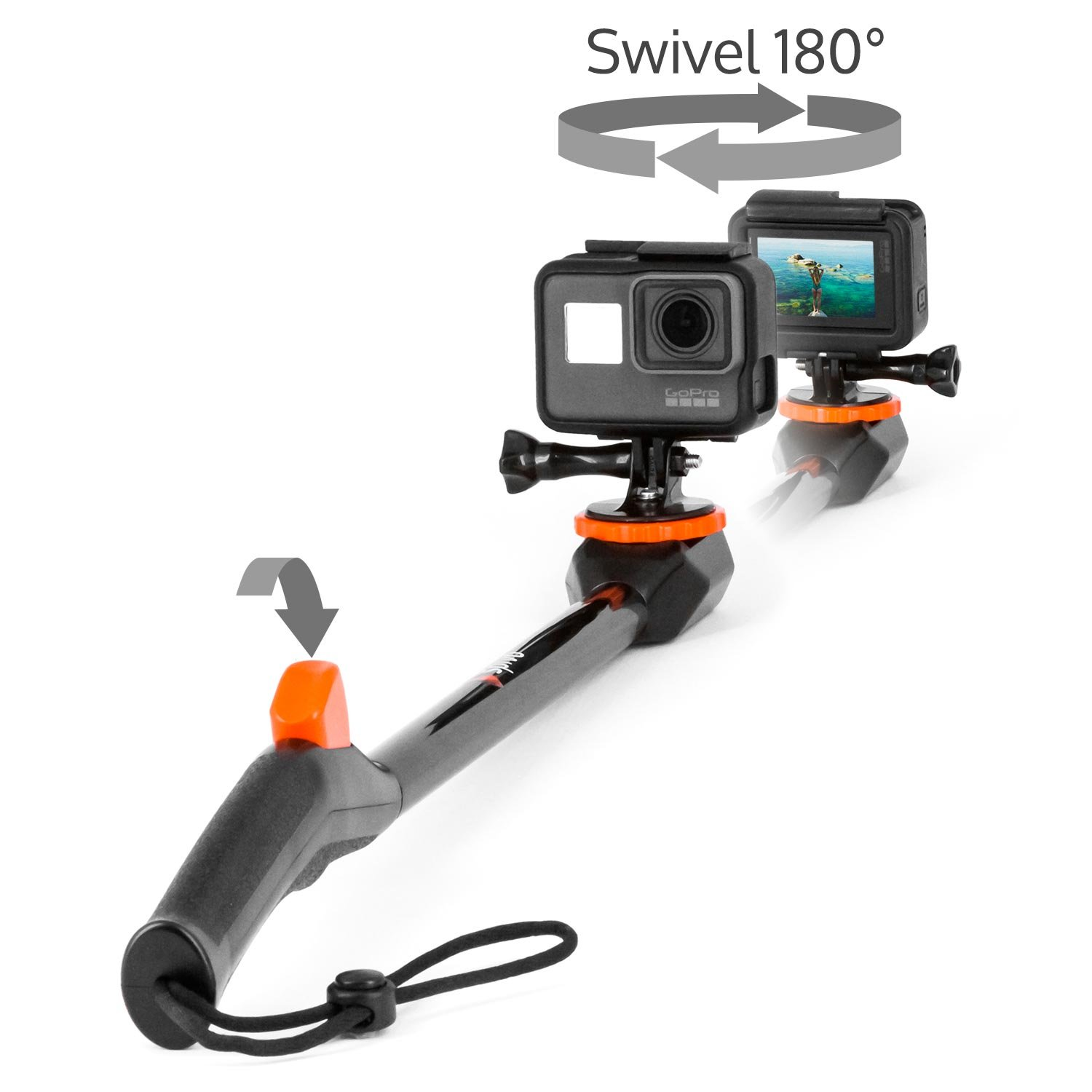 Spivo 360, New 20 Inch Waterproof Swivel Selfie Stick for GoPro Cameras and Smartphones. The Only Rotating Pole to Capture Your Adventures From Every Angle (Waterproof, 2nd Generation, Black) 6971770000000