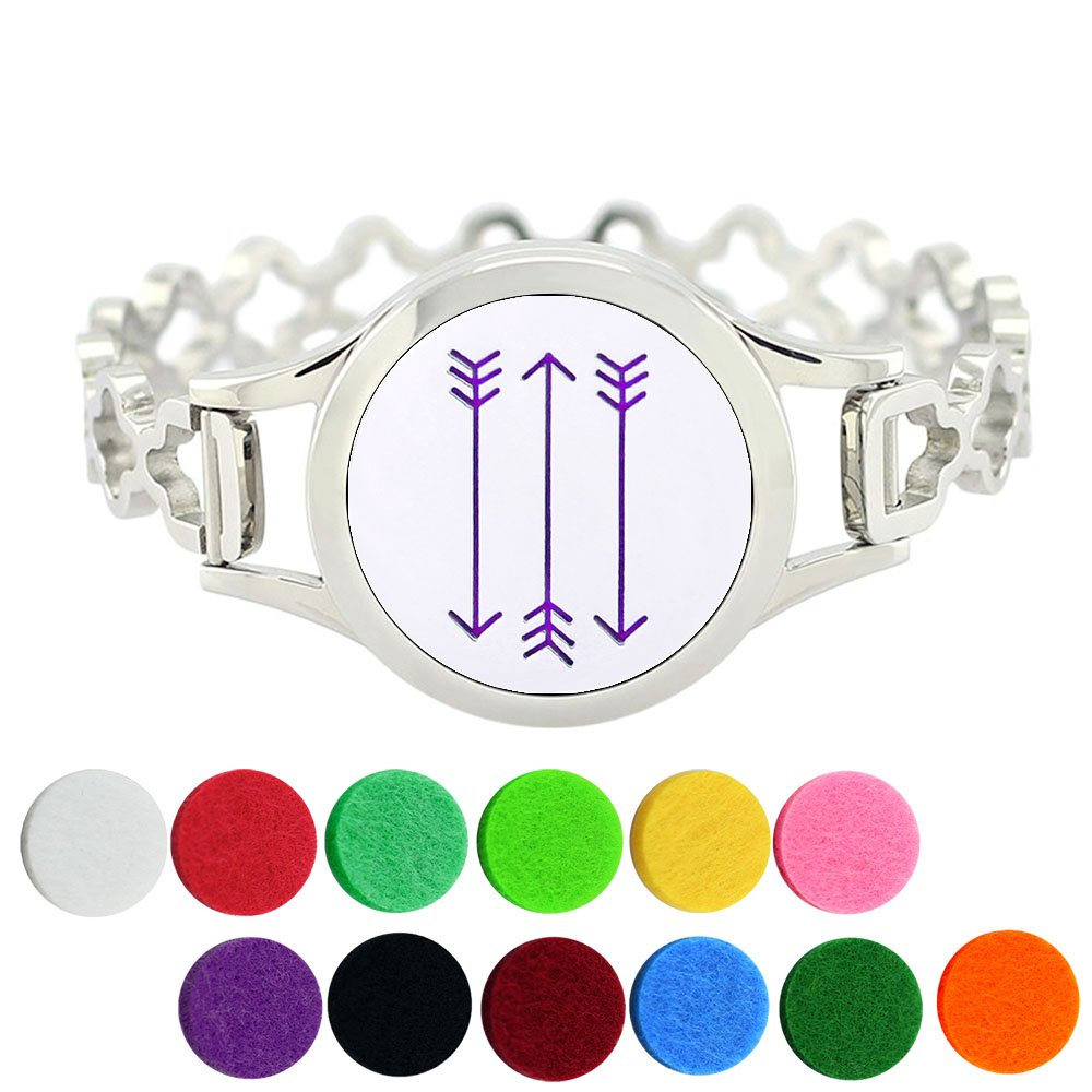Arrow Design Aromatherapy Bracelet Diffuser Personalized Essential Oil Jewelry for Women, Stainless Steel Clover Cuff Bracelet with 12 Felt Pads by Lademayh