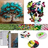 DIY 5D Diamond Painting by Number Kits, 2 Pack Crystal Rhinestone Diamond Embroidery Paintings Arts Craft for Halloween Wall Décor(Skull & Tree) - Stress and Anxiety Relief, Killing Time