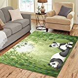 Cheap InterestPrint Bamboo Forest with Panda Area Rugs Carpet 7 x 5 Feet, Animal Panda Bamboo Modern Carpet Floor Rugs Mat for Children Kids Home Living Dining Room Playroom Decoration
