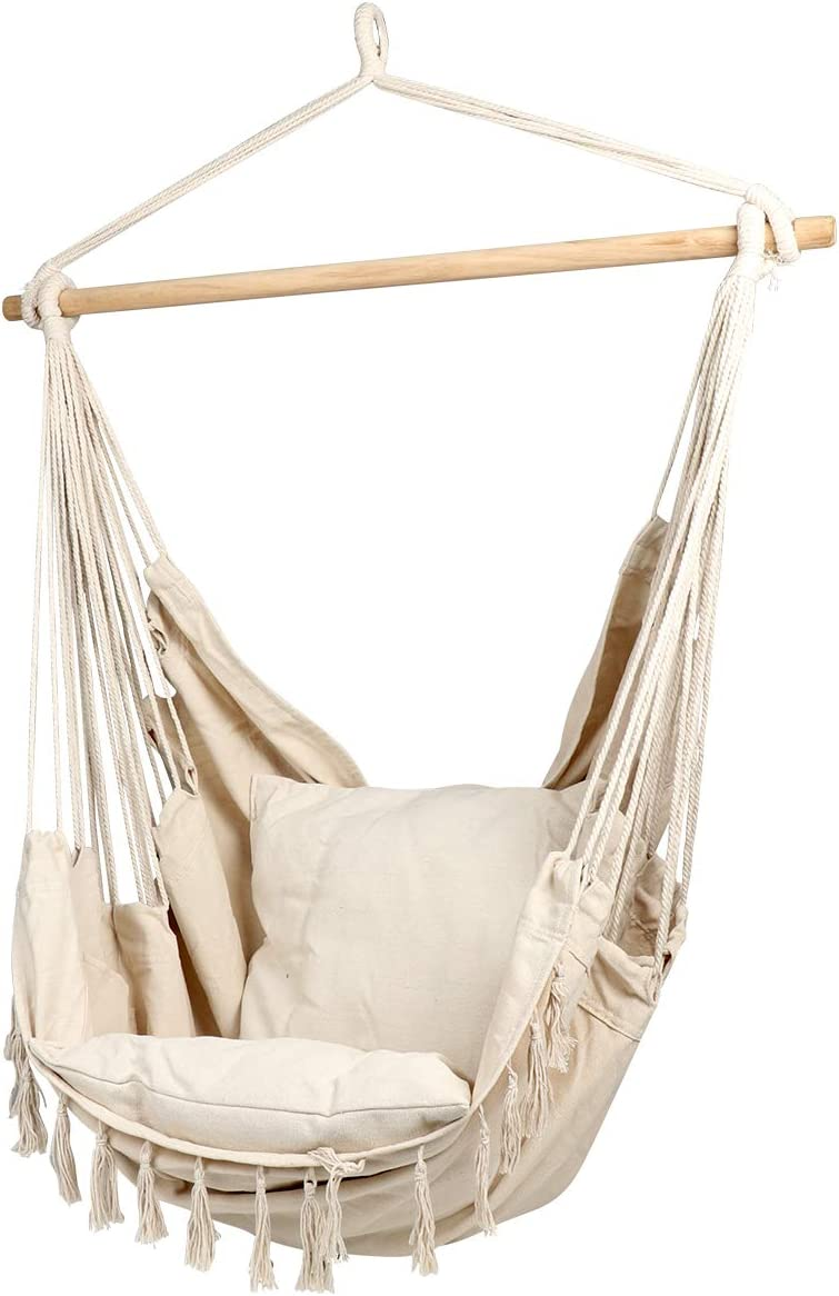 CCTRO Large Hammock Chair Hanging Rope Swing Seat for Indoor Outdoor Soft Durable Cotton Canvas 2 Cushions Included with Pocket for Bedroom, Patio, Porch Beige