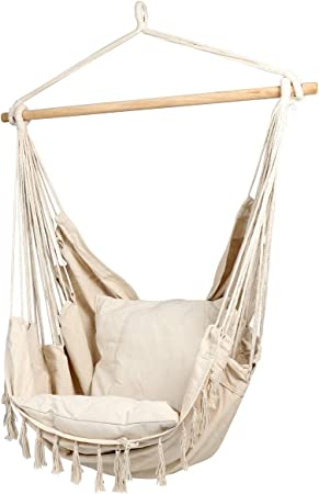 Amazon Com Cctro Large Hammock Chair Hanging Rope Swing Seat For Indoor Outdoor Soft Durable Cotton Canvas 2 Cushions Included With Pocket For Bedroom Patio Porch Beige Garden Outdoor
