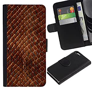 KingStore / Leather Etui en cuir / Apple Iphone 5 / 5S / Modelo de la piel de la serpiente de Brown Escalas del reptil Arte