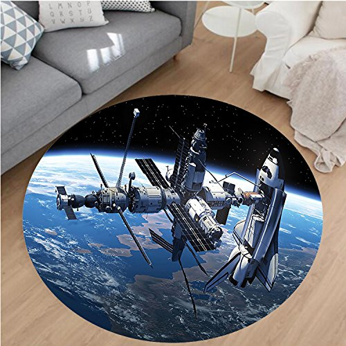 Nalahome Modern Flannel Microfiber Non-Slip Machine Washable Round Area Rug-Shuttle and Station View Cosmonaut Adventure on the Myst Globe Orbit Off Blue Grey Black area rugs Home Decor-Round 43