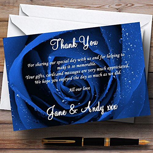 Stunning Royal Blue Rose Personalized Wedding Thank You Cards