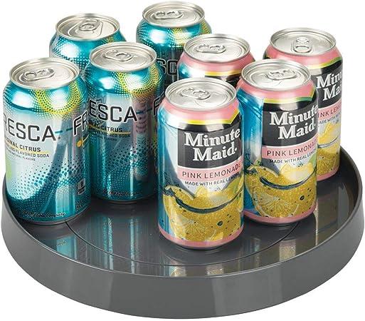 comptoir etc carrousel cuisine mDesign Lazy Susan plateau tournant en plastique pour /épices armoire gris anthracite accessoire de rangement pour placard etc aliments r/éfrig/érateur